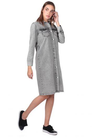 MARKAPIA WOMAN - Düğme Detaylı Gri Kot Elbise (1)