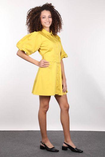 MARKAPIA WOMAN - Düğmeli Balon Kol Kadın Elbise (1)