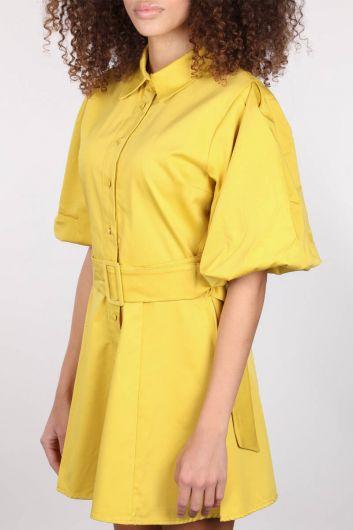 Düğmeli Balon Kol Kadın Elbise - Thumbnail