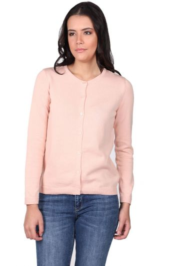 Pink Front Buttoned Women's Knitwear Cardigan - Thumbnail