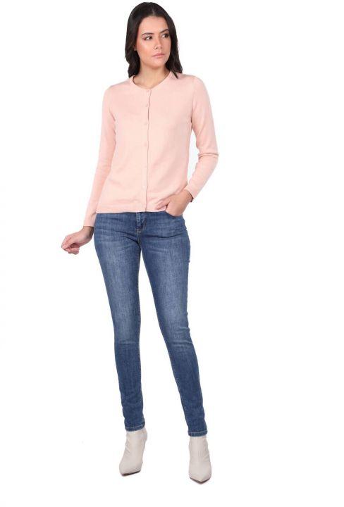 Pink Front Buttoned Women's Knitwear Cardigan