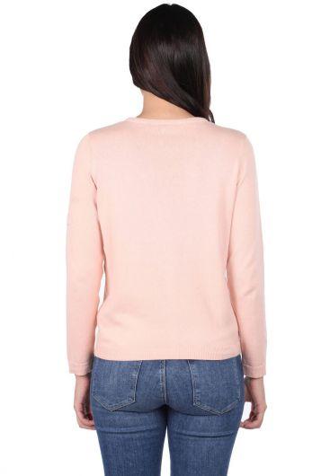 MARKAPIA WOMAN - Розовый женский вязаный кардиган на пуговицах спереди (1)
