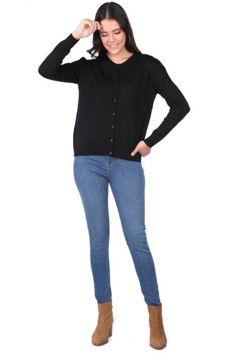 Siyah Düğmeli Kadın Triko Hırka