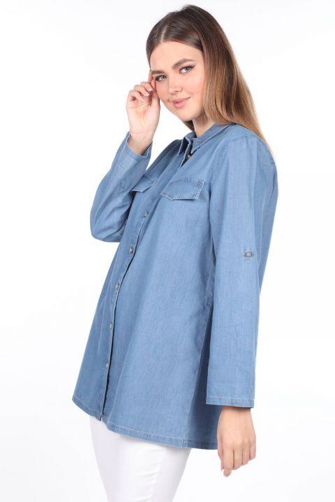 Düğmeli Geniş Kesim Mavi Kadın Jean Gömlek