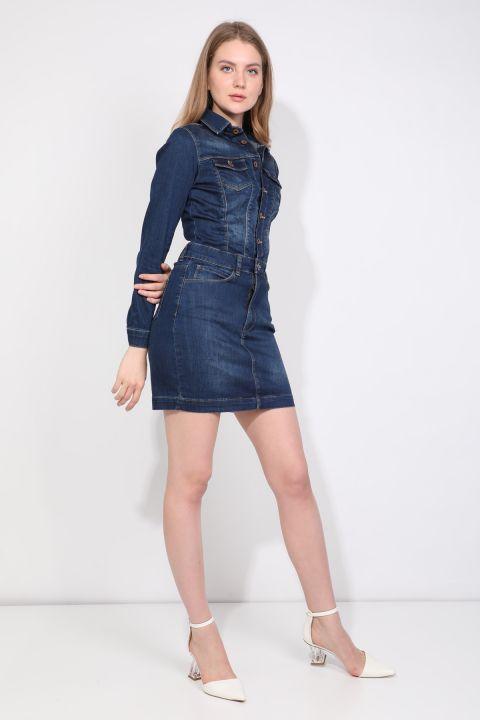 Düğmeli İndigo Kadın Jean Elbise