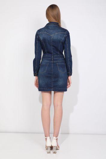 Düğmeli İndigo Kadın Jean Elbise - Thumbnail