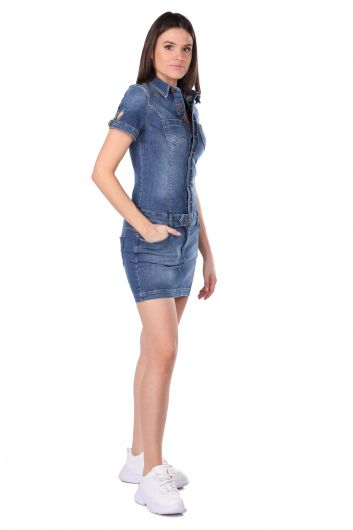 BLUE WHITE - Women's Buttoned Jean Dress (1)
