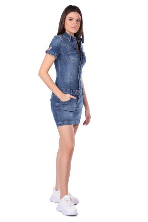 Düğmeli Kadın Jean Elbise