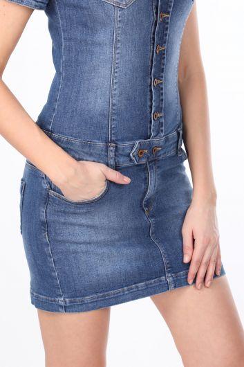 Düğmeli Kadın Jean Elbise - Thumbnail