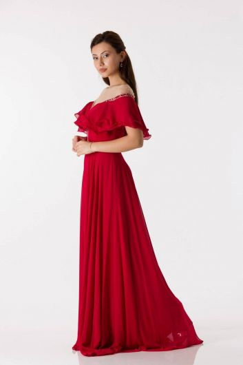 shecca - Frill Detailed Red Long Engagement Dress (1)