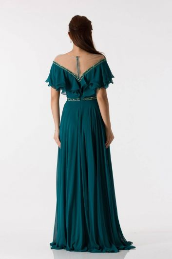 shecca - Ruffle Detailed Petrol Long Engagement Dress (1)