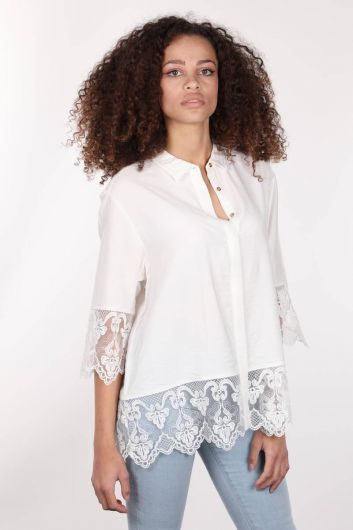 MARKAPIA WOMAN - Двубортная женская рубашка из экрю с пуговицами и шнуровкой из экрю (1)