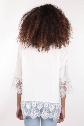 Двубортная женская рубашка из экрю с пуговицами и шнуровкой из экрю - Thumbnail