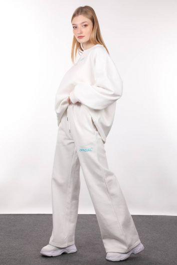 MARKAPIA WOMAN - Женская толстовка оверсайз с приподнятым верхом цвета экрю (1)