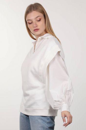 MARKAPIA WOMAN - Базовый свитер Ecru с V-образным вырезом (1)