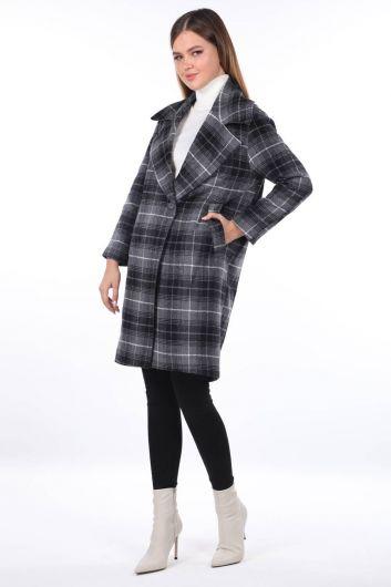 MARKAPİA WOMAN - Кашетное пальто в клетку с рисунком (1)