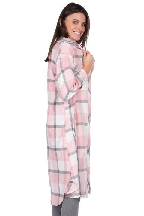Ekose Oversize Uzun Pembe Kadın Gömlek Ceket