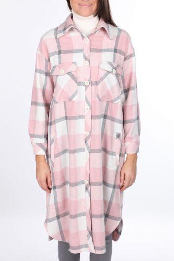 Ekose Oversize Uzun Pembe Kadın Gömlek Ceket - Thumbnail