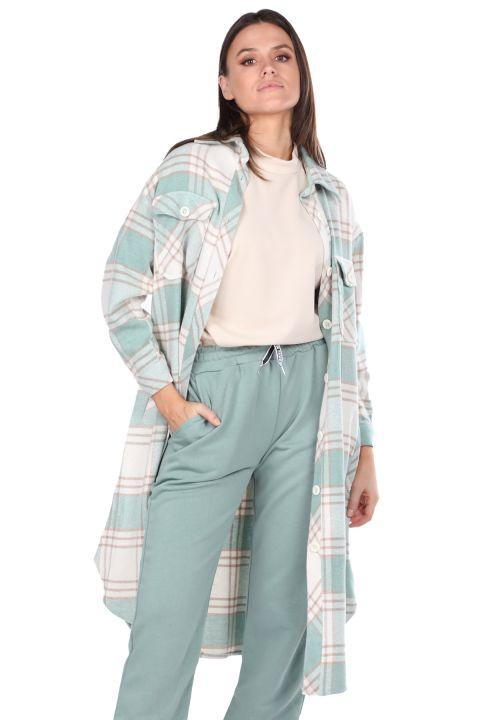 Ekose Oversize Uzun Kadın Gömlek Ceket