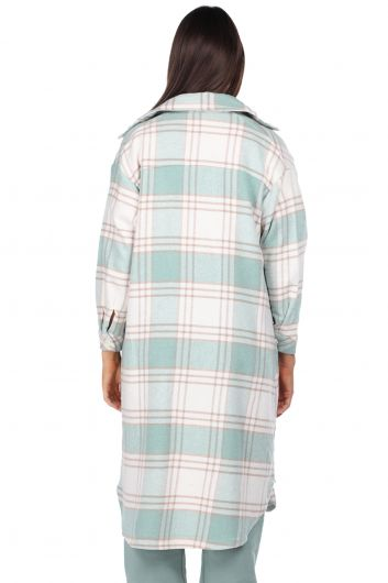 Ekose Oversize Uzun Kadın Gömlek Ceket - Thumbnail