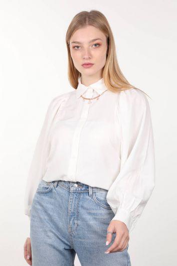 Ekru Büzgülü Balon Kol Kadın Gömlek - Thumbnail