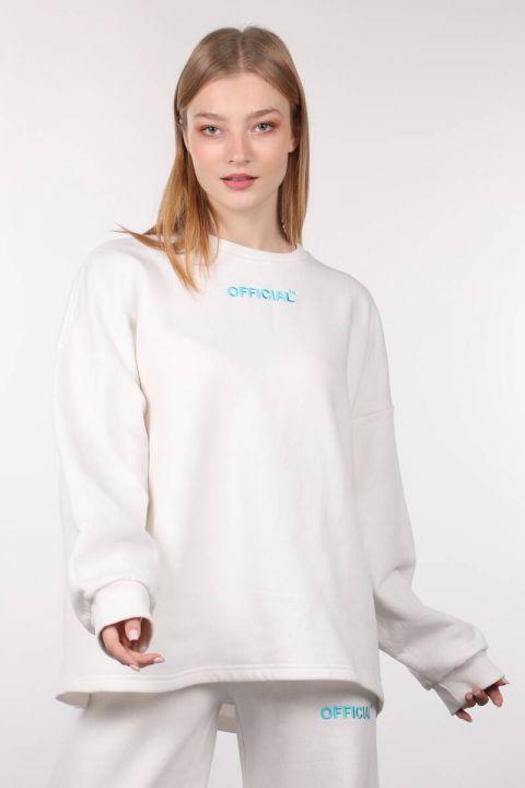 Ekru Şardonlu Oversize Kadın Sweatshirt