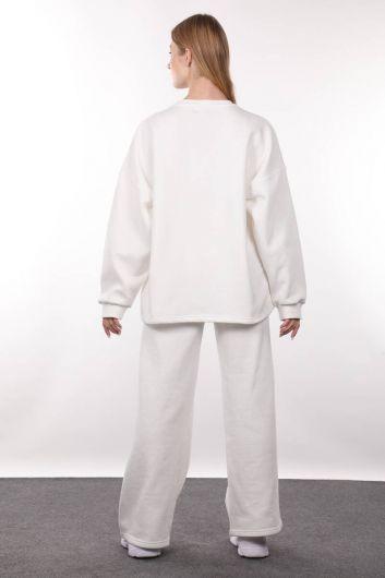 Ekru Şardonlu Oversize Kadın Sweatshirt - Thumbnail