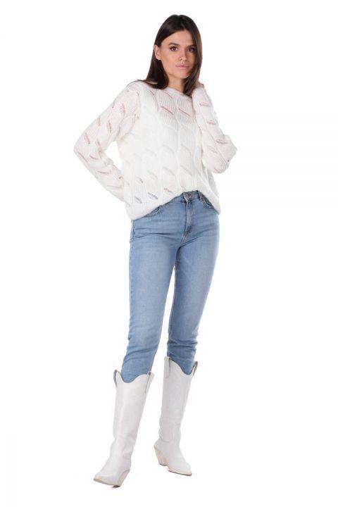 Ekru Örme Kadın Triko Kazak