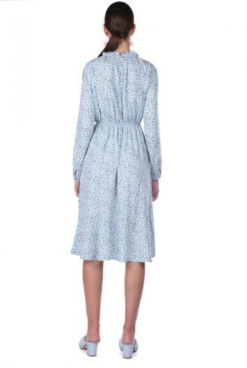 Платье с эластичной талией и цветочным узором - Thumbnail
