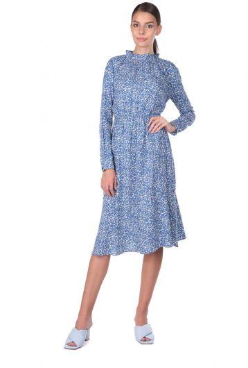 Elastic Waist Floral Pattern Dress - Thumbnail