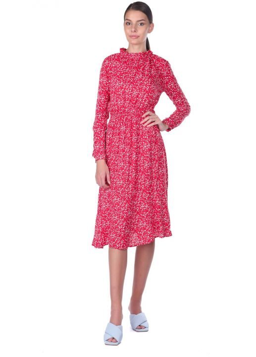 Elastic Waist Floral Pattern Dress