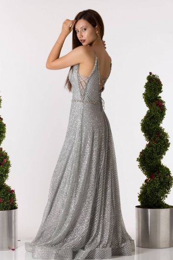 shecca - Thin Strap Silvery Gray Long Engagement Dress (1)