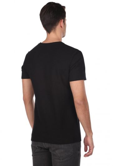 Infınıty Printed Men's Black Crew Neck T-Shirt - Thumbnail