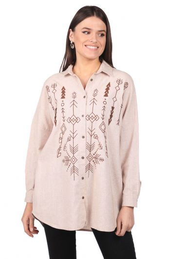 Embroidered Oversize Women's Patterned Shirt - Thumbnail