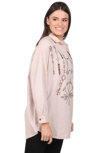 MARKAPIA WOMAN - Embroidered Oversize Women's Patterned Shirt (1)