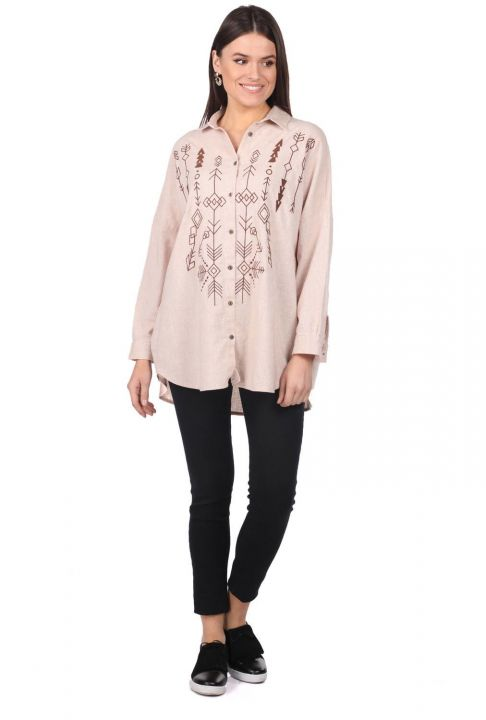 Embroidered Oversize Women's Patterned Shirt