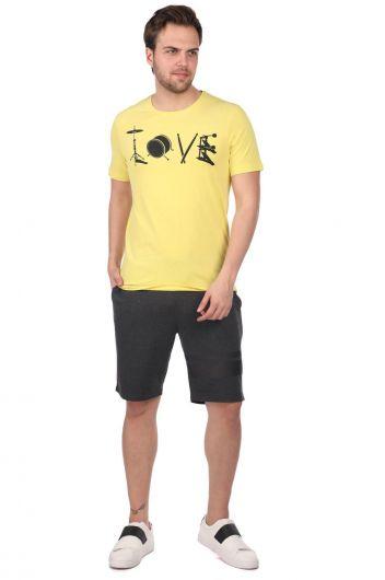 Enstrüman Desenli Erkek Bisiklet Yaka T-Shirt - Thumbnail