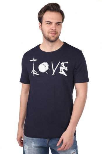 MARKAPIA MAN - Enstrüman Desenli Erkek Bisiklet Yaka T-Shirt (1)