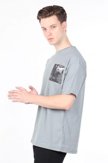 COUTURE - Erkek Açık Füme Bisiklet Yaka T-shirt (1)