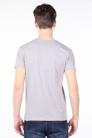Erkek Açık Gri Bisiklet Yaka T-shirt - Thumbnail