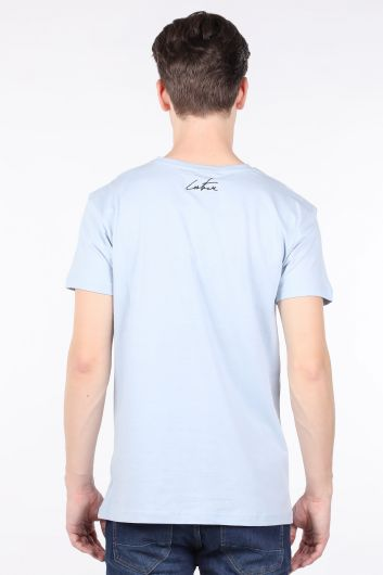 Erkek Açık Mavi Couture Baskılı Bisiklet Yaka T-shirt - Thumbnail