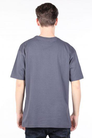 Erkek Antrasit Bisiklet Yaka T-shirt - Thumbnail