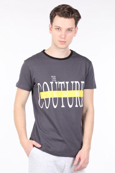 Erkek Antrasit Couture Baskılı Bisiklet Yaka T-shirt