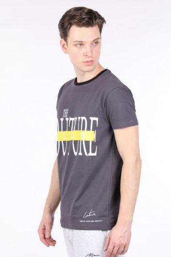 COUTURE - Erkek Antrasit Couture Baskılı Bisiklet Yaka T-shirt (1)
