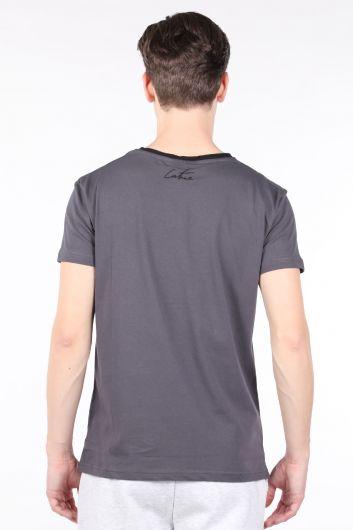 Erkek Antrasit Couture Baskılı Bisiklet Yaka T-shirt - Thumbnail