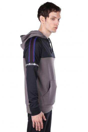 STATUS - Erkek Antrasit Parçalı Kapüşonlu Sweatshirt (1)