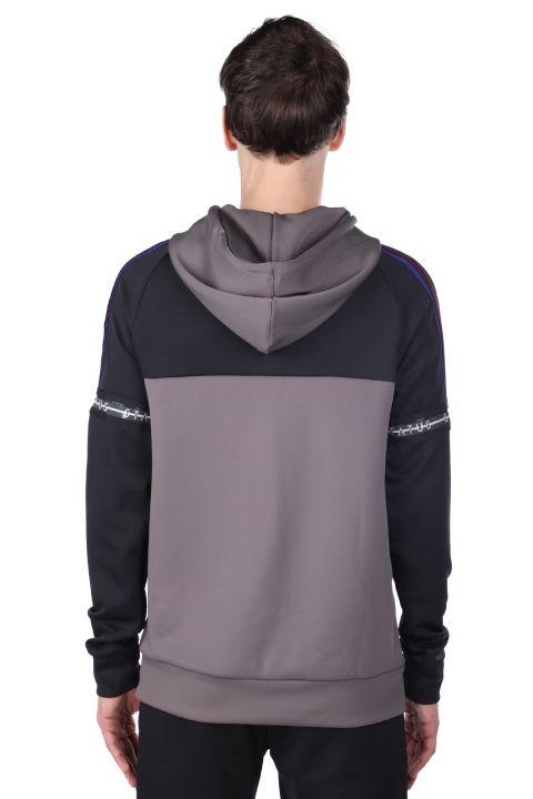 Erkek Antrasit Parçalı Kapüşonlu Sweatshirt
