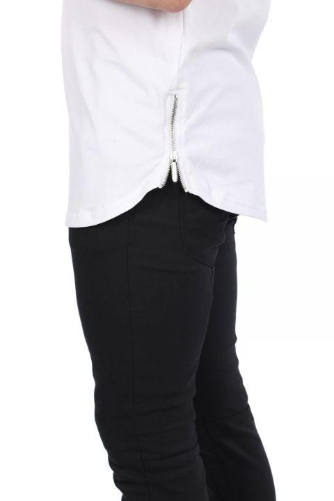 Baskılı Fermuarlı Erkek Beyaz Bisiklet Yaka T-Shirt
