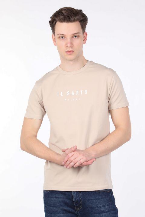 Erkek Bej Bisiklet Yaka T-shirt