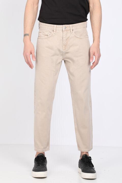 Erkek Bej Orta Bel Jean Pantolon